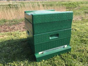 Complete groen geschilderde bijenkast met vlieggatschuif en voerbak