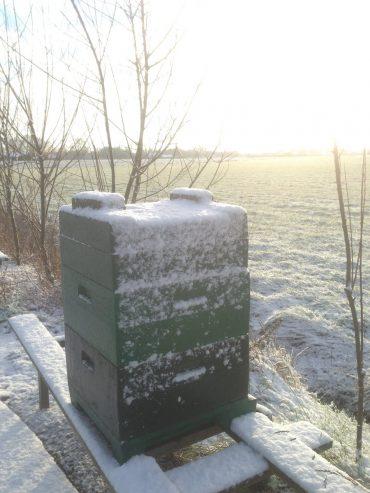 Bijenkast met sneeuw