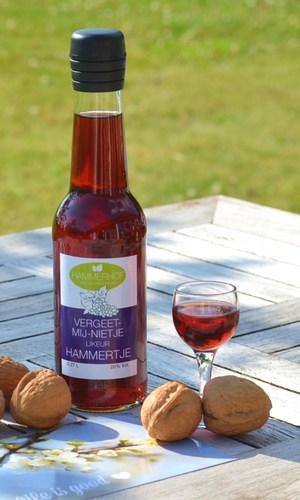 flesje likeur met een glaasje en walnoten