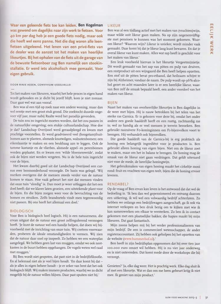 Hammerhof artikel slowfood magazine